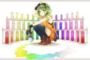 green hair colorful megpoid gumi anime girls