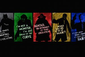 green movies artwork collage bane scarecrow (character) batman typography the dark knight black background two-face red dc comics yellow joker