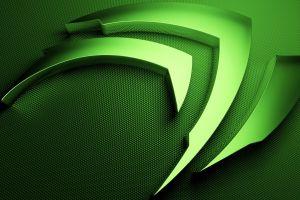 green nvidia logo computer digital art