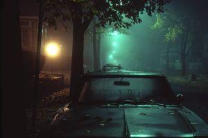 green street light night dark street car mist dew lights