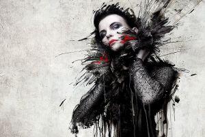 grunge looking at viewer texture photo manipulation digital art abstract women