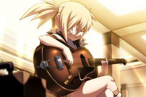 guitar rewrite anime anime girls musical instrument