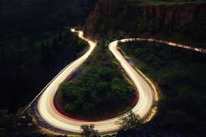 hairpin turns long exposure landscape road road forest