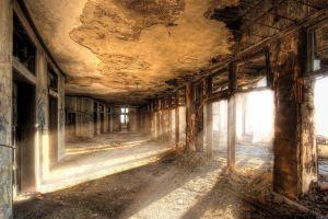 hallway apocalyptic city ruin
