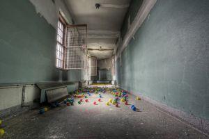 hallway ruin balls window