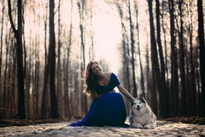 happy happiness dog long hair women road glamour women forest animals glamour women with dogs blue dress brunette