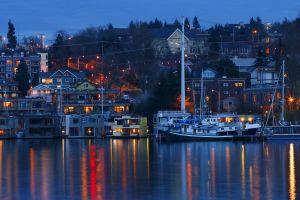 harbor cityscape night house boat