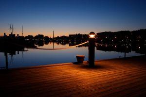 harbor lantern sunset night