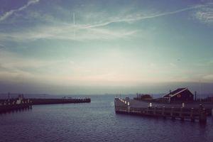 harbor sea sky clouds