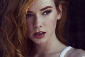 hattie watson freckles redhead face women portrait