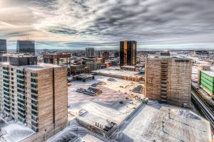hdr building clouds snow cityscape