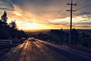 hdr trees asphalt sunlight photo manipulation clouds sunset road power lines