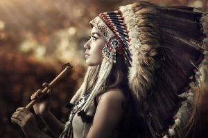 headdress profile model women feathers face blurred