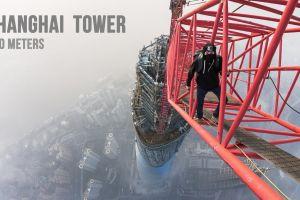 heights cranes (machine) climbing city tower bird's eye view gopro cityscape shanghai