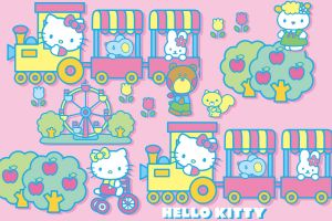 hello kitty yellow colorful simple background pink background