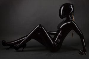 helmet women latex blonde