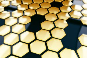 hexagon gold render pattern black