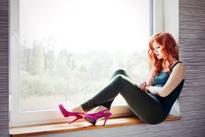 high heels women brunette looking away model painted nails tank top red nails redhead window sitting blonde