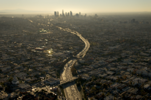 highway cityscape los angeles road aerial view