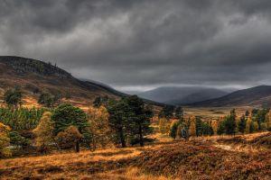 hills trees clouds landscape nature