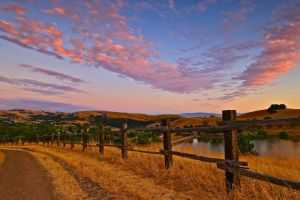 hills wood fence landscape sunset nature dry grass summer dirt road