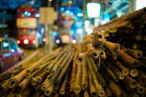hong kong bokeh street bamboo blurred