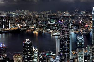 hong kong cityscape night hdr china