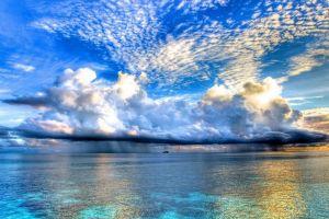 horizon clouds landscape sky sea island