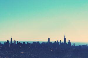 horizon sky simple blue cyan chicago skyline