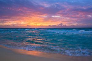horizon sunset beach sea sky