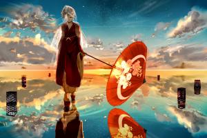 horizon umbrella sky anime girls clouds