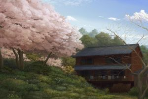 house drawing trees nature