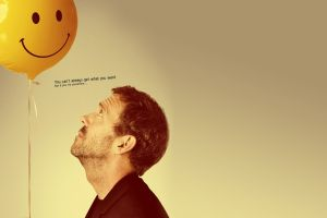 hugh laurie balloon actor house, m.d. looking up men smiley