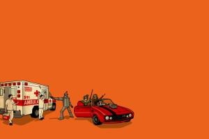 humor artwork orange background simple background ambulances the wizard of oz robot