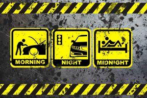humor black digital art yellow sign