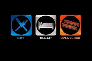 humor simple background eating geek sleeping minimalism overclocking