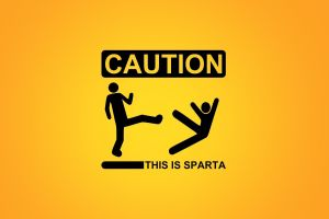 humor sparta quote simple background typography orange background yellow