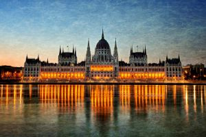hungary reflection budapest hungarian parliament building