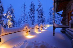 hut winter snow lights trees