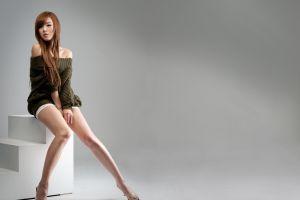 hwang mi hee asian legs model auburn hair women simple background bare shoulders long hair
