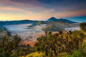 indonesia landscape mountains volcano