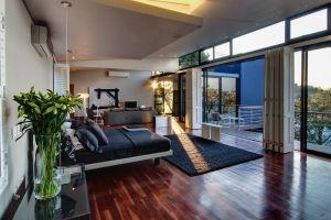 interior design wooden surface vases window bedroom sunlight