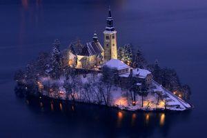 island church lake bled snow slovenia