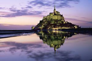 island photography purple sky reflection mont saint-michel abbey