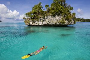 islas galapagos women sea underwater rock nature