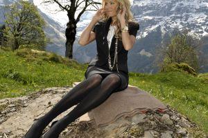 jacket women women outdoors black outfits model legs skirt heels sylvie meis