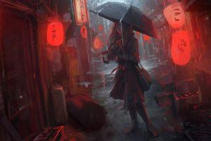 japanese umbrella oldboy digital art cityscape lantern rain anime women anime girls artwork fictional characters