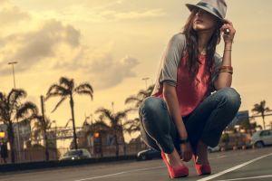 jeans kneeling high heels hat women urban bracelets