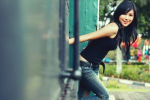 jeans women outdoors asian model women smiling