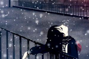 jigoku shoujo enma ai snow flakes anime black hair anime girls